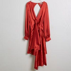 ASOS Long Sleeve Faux Warp Rust Colored  Dress